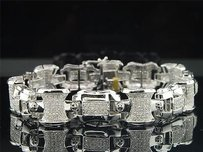 Jewelry For Less Diamond Link Bracelet Mens 10k White Gold Round Cut Pave Domed 3.75 Tcw.
