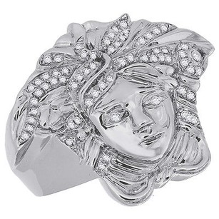 Jewelry For Less Diamond Medusa Pinky Statement Ring 10k White Gold Round Cut Pave Set 0.33 Ct.