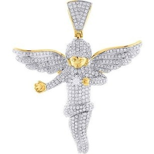 Jewelry For Less Diamond Mini 3d Angel Pendant 10k Yellow Gold Round Cut Wings Charm 4.15 Ct.