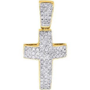 Jewelry For Less Diamond Mini Domed Cross Pendant 10k Yellow Gold Round Cut Pave Charm 0.55 Ct.