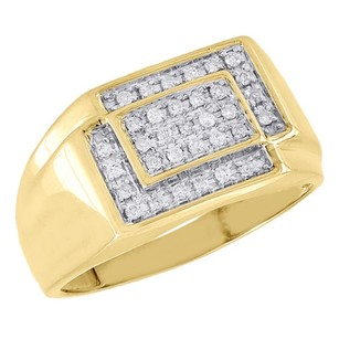 Diamond Pinky Ring 10k Yellow Gold Mens Round Cut Square Zig Zag Band 0.25 Ct.