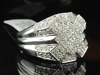 Jewelry For Less Diamond Pinky Ring Mens 10k White Gold Criss Cross Statement Band 0.75 Ct.