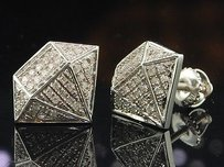 Jewelry For Less Diamond Shape Earrings Mens 10k White Gold Round Cut Pave Studs 0.25 Tcw.