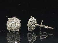Jewelry For Less Diamond Solitaire Style Earrings 14k White Gold Round Cut Studs 1 Tcw.