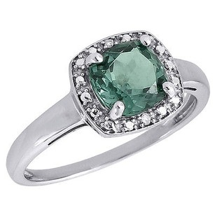 Other Diamond Square Halo .925 Sterling Silver Created Emerald Cocktail Ring 1.76 Ct.