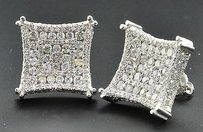 Jewelry For Less Diamond Studs 3d Kite Shaped 10k White Gold Round Cut Channel Set Earrings Ct.