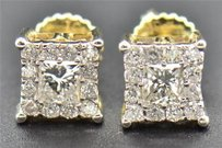 Jewelry For Less Diamond Studs Mens Ladies 10k Yellow Gold Princess Cut Solitaire Earrings .49 Ct