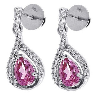 Jewelry For Less Diamond Teardrop Created Pink Sapphire Dangle Earrings 10k White Gold 3.20 Tcw