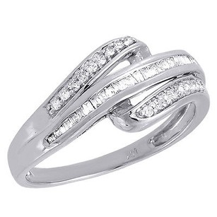 Other Diamond Wedding Band 10k White Gold Round Baguette Cut Ladies Ring 0.20 Ct