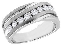 Diamond Wedding Band 10k White Gold Round Cut 1 Ct. Mens Comfort Fit Ring