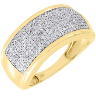 Jewelry For Less Diamond Wedding Band Mens 10k Yellow Gold Round Cut Pave Engagement Ring .60 Ct