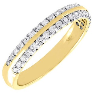 Other Diamond Wedding Band Yellow Gold Round Row Ladies Engagement Ring 0.33 Ct