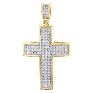 Domed Diamond Cross Pendant 10k Yellow Gold Mens Round Pave Mini Charm 0.50 Tcw.