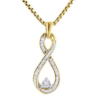 Jewelry For Less Double Infinity Diamond Pendant Yellow Gold Round Charm With Necklace 0.16 Ct.