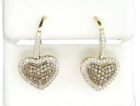 Ladies,10k,Yellow,Gold,White,Brown,Champagne,Diamond,Danglers,Earrings,0.64,Ct