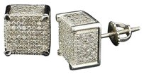 Diamond,3d,Square,Cube,Earrings,10k,White,Gold,Round,Pave,Studs,1,Tcw.