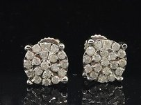 Jewelry For Less Flower Design Diamond Studs 10k White Gold Round Cut Circle Earrings 12 Tcw.
