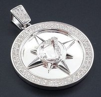 Jewelry For Less Genuine Diamond Five Percenter Pendant .925 Sterling Silver 1.68 Charm 12 Ct