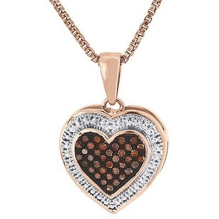 Jewelry For Less Heart Red Diamond Pendant Ladies 10k Rose Gold Charm Necklace W Chain 0.12 Ct.