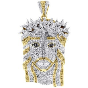Jewelry For Less High End Diamond Jesus Piece Pendant Charm Face 10k Yellow Gold 6.82 Ct