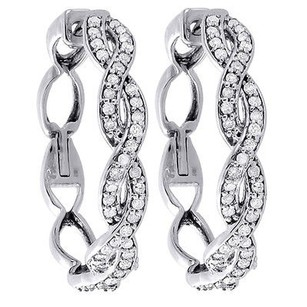Diamond,Infinity,Hoop,Earrings,Ladies,10k,White,Gold,Round,Cut,Pave,12,Ctw.