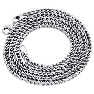 Jewelry For Less Real 10k White Gold 3d Hollow Franco Box Link Chain 3.75mm Necklace 24-40 Inches