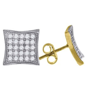 Jewelry For Less 10k Yellow Gold Kite Pave Cz 0.45 Stud Push Back Earrings