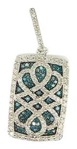 Other Ladies 10k White Gold Designer Blue Diamond Pendant Charm For Necklace .90 Ct.