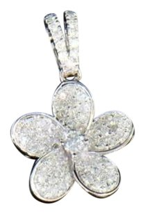 Ladies 10k White Gold Round Cut White Diamond Rose Flower Pendant Charm 0.38 Ct.
