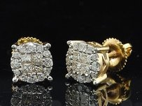 Jewelry For Less Ladies 14k Yellow Gold Princess Cut Halo Set Diamond Studs Earrings 0.50 Ct.