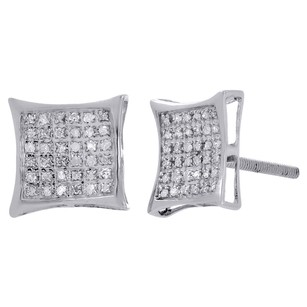 Jewelry For Less Ladies .925 Sterling Silver Designer Square Kite Diamond Studs Earrings 0.25 Ct.
