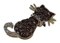 Other Ladies Yellow Gold .33c Brown Diamond Cat Charm Pendant