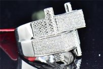 Jewelry For Less Mens 925 Sterling Silver Pave Genuine Diamond Designer Fashion Pinky Ring .95 Ct