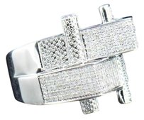 Mens 925 Sterling Silver Pave Genuine Diamond Designer Fashion Pinky Ring .95 Ct