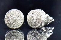Jewelry For Less Mens Ladies 10k White Gold Round Cut Diamond 3d Circle Studs Earrings 0.26 Ct.