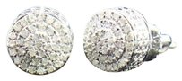 Other Mens Ladies 10k White Gold Round Cut Diamond 3d Circle Studs Earrings 0.26 Ct.