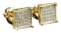 Mens Ladies 10K Yellow Gold Designer Square Pave Diamond Earrings Studs 0.15 Ct.