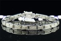 Jewelry For Less Mens Ladies .925 Sterling Silver Round Pave Genuine Diamond Bracelet 1.06 Ct
