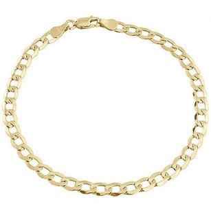 Mens Or Ladies 10k Yellow Gold Flat Cuban Curb 4.75 Mm Link Bracelet 8-10 Inches