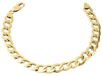 Other Mens Real 10k Yellow Gold Hollow Cuban Curb Link 9.50mm Bracelet 8 9
