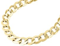 Jewelry For Less Mens Real 10k Yellow Gold Hollow Cuban Curb Link Chain Necklace 9.50mm 22-30