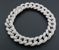 Jewelry For Less Miami Cuban Diamond Bracelet Mens 14k White Gold 8 Pave Round Cut 10.56 Ct.
