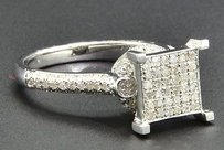 Diamond Engagement Ring Square Head .925 Sterling Silver White Finish 0.75 Ct.