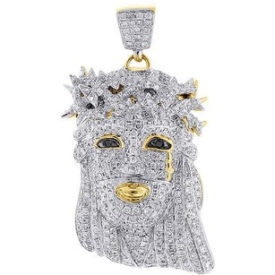 Jewelry For Less Mini Diamond Jesus Piece Solid Back Pendant Charm Face 10k Yellow Gold 2.40 Ct.