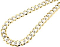 10k,Yellow,Gold,Solid,Pave,Flat,Curb,Cuban,Chain,11.50mm,Necklace,18,-,30