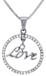 Circle,Love,Diamond,Pendant,10k,White,Gold,Round,Charm,With,Necklace,14,Ct.