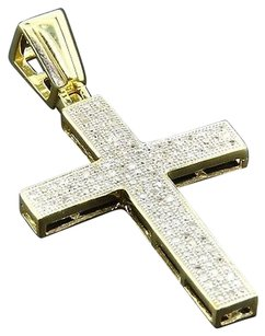 Diamond,Cross,Pendant,Mens,10k,Yellow,Gold,Round,Cut,Pave,Flat,Charm,0.40,Ct.