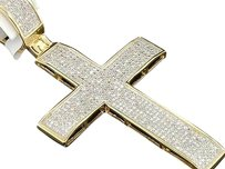 Mens,10k,Yellow,Gold,White,Diamond,Cross,Designer,Domed,Charm,Pendant,0.95,Ct.