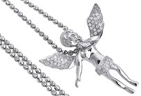Diamond,Angel,Pendant,10k,White,Gold,Round,Pave,Charm,Chain,Set,0.40,Ct.