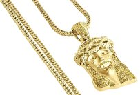 Yellow,Diamond,Teardrop,Jesus,Face,Pendant,Mens,Gold,Charm,W,Franco,Chain,1,Ct.